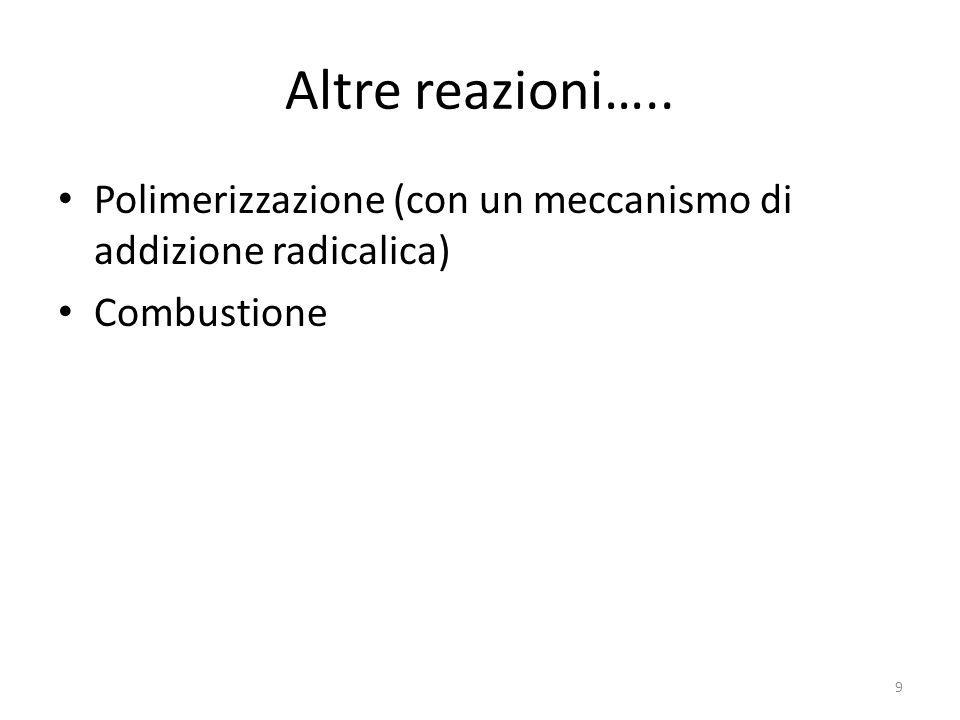 Altre reazioni….. Polimerizzazione (con un meccanismo di addizione radicalica) Combustione 9