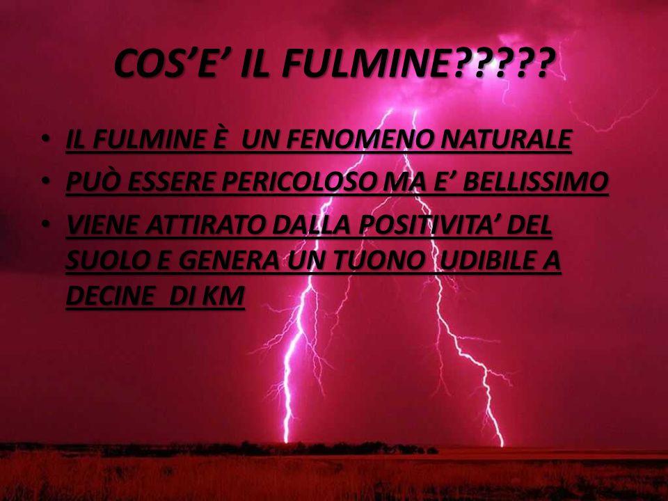 UN ALTRO FENOMENO RIGUARDANTE L'ELETTRICITA' IL FULMINE