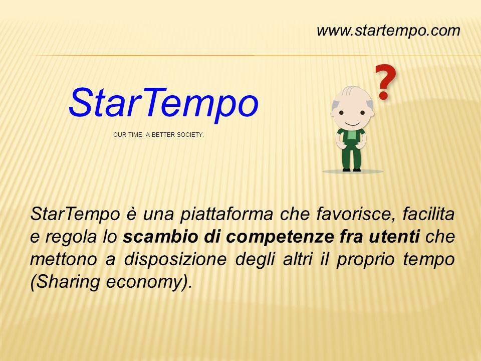 StarTempo OUR TIME. A BETTER SOCIETY. StarTempo è una piattaforma che favorisce, facilita e regola lo scambio di competenze fra utenti che mettono a d