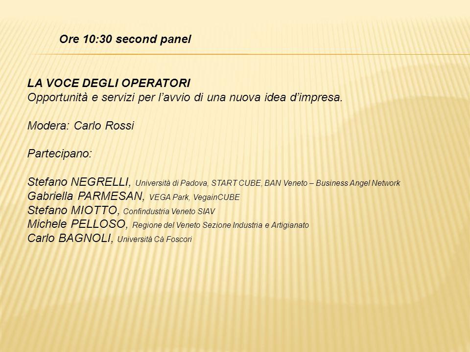 Ore 10:30 second panel LA VOCE DEGLI OPERATORI Opportunità e servizi per l'avvio di una nuova idea d'impresa. Modera: Carlo Rossi Partecipano: Stefano