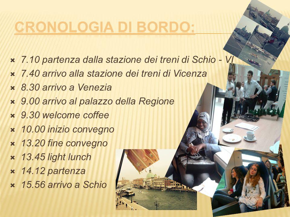  7.10 partenza dalla stazione dei treni di Schio - VI  7.40 arrivo alla stazione dei treni di Vicenza  8.30 arrivo a Venezia  9.00 arrivo al palaz