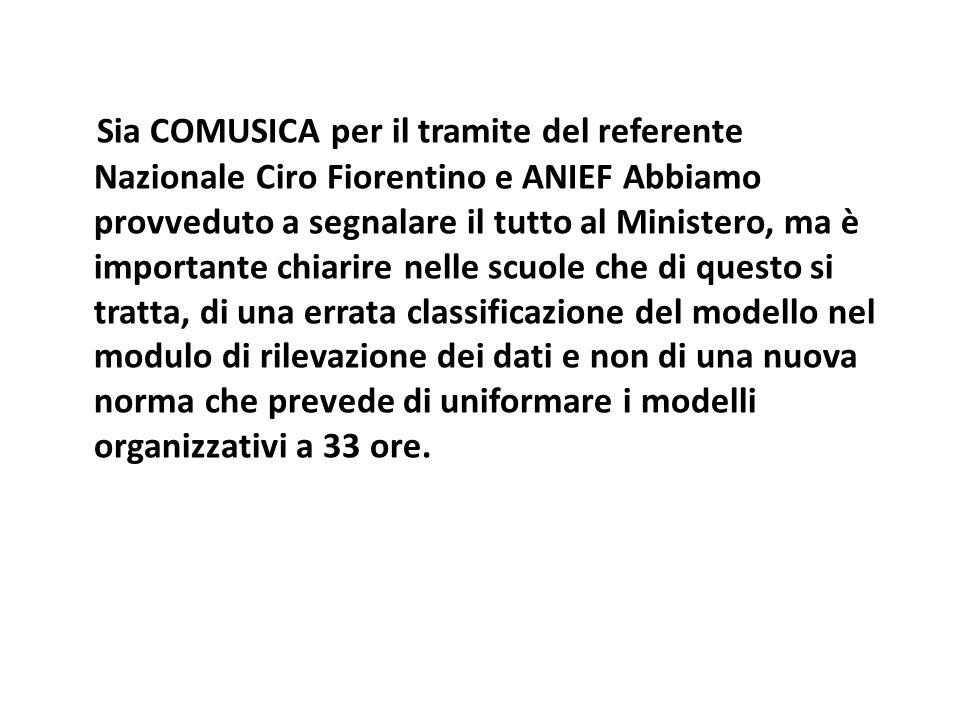 Sia COMUSICA per il tramite del referente Nazionale Ciro Fiorentino e ANIEF Abbiamo provveduto a segnalare il tutto al Ministero, ma è importante chia