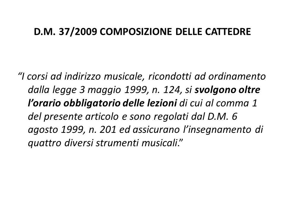 """D.M. 37/2009 COMPOSIZIONE DELLE CATTEDRE """"I corsi ad indirizzo musicale, ricondotti ad ordinamento dalla legge 3 maggio 1999, n. 124, si svolgono oltr"""