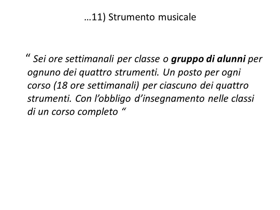 """…11) Strumento musicale """" Sei ore settimanali per classe o gruppo di alunni per ognuno dei quattro strumenti. Un posto per ogni corso (18 ore settiman"""