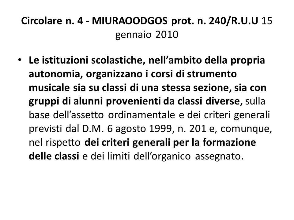 Circolare n. 4 - MIURAOODGOS prot. n. 240/R.U.U 15 gennaio 2010 Le istituzioni scolastiche, nell'ambito della propria autonomia, organizzano i corsi d