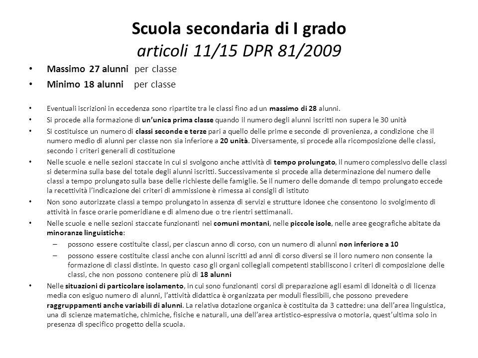 Scuola secondaria di I grado articoli 11/15 DPR 81/2009 Massimo 27 alunni per classe Minimo 18 alunni per classe Eventuali iscrizioni in eccedenza son