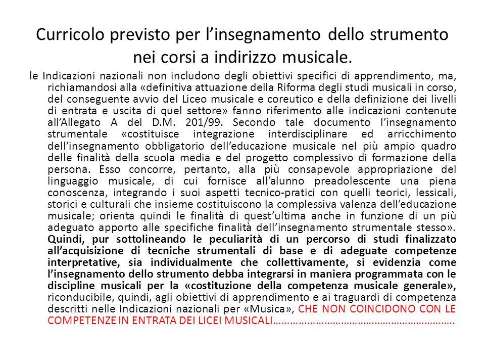 Curricolo previsto per l'insegnamento dello strumento nei corsi a indirizzo musicale. le Indicazioni nazionali non includono degli obiettivi specifici