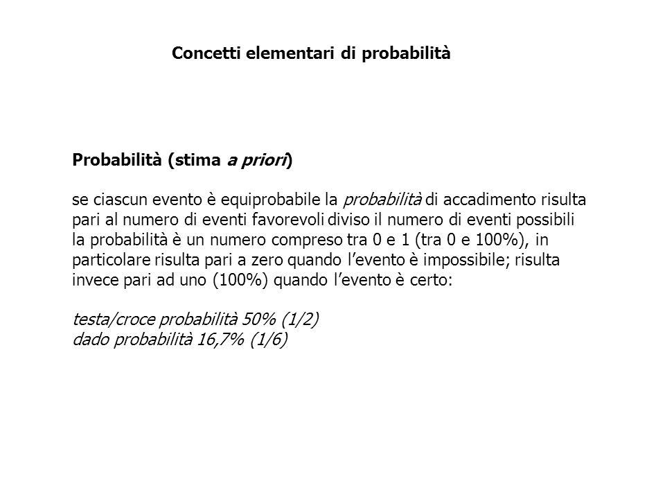 Probabilità (stima a priori) se ciascun evento è equiprobabile la probabilità di accadimento risulta pari al numero di eventi favorevoli diviso il num