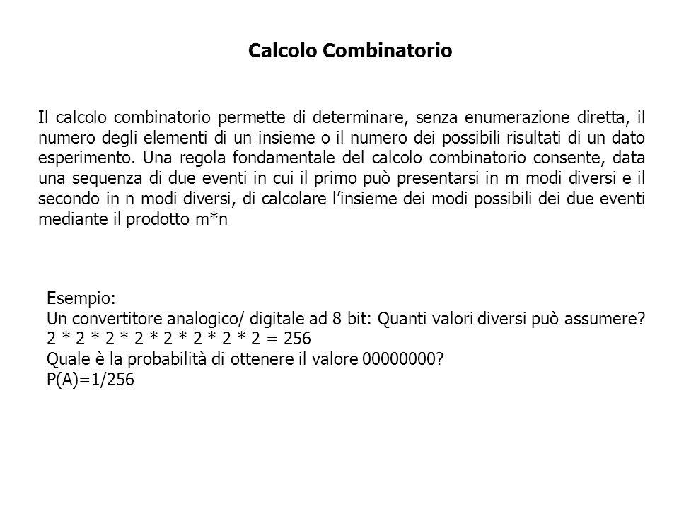 Esempio: Un convertitore analogico/ digitale ad 8 bit: Quanti valori diversi può assumere? 2 * 2 * 2 * 2 * 2 * 2 * 2 * 2 = 256 Quale è la probabilità