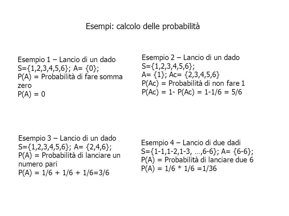 Esempi: calcolo delle probabilità Esempio 1 – Lancio di un dado S={1,2,3,4,5,6}; A= {0}; P(A) = Probabilità di fare somma zero P(A) = 0 Esempio 2 – La