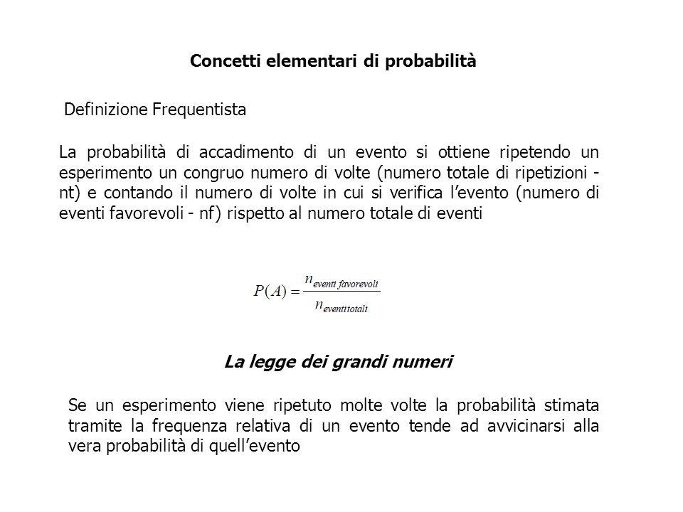 Concetti elementari di probabilità La probabilità di accadimento di un evento si ottiene ripetendo un esperimento un congruo numero di volte (numero t