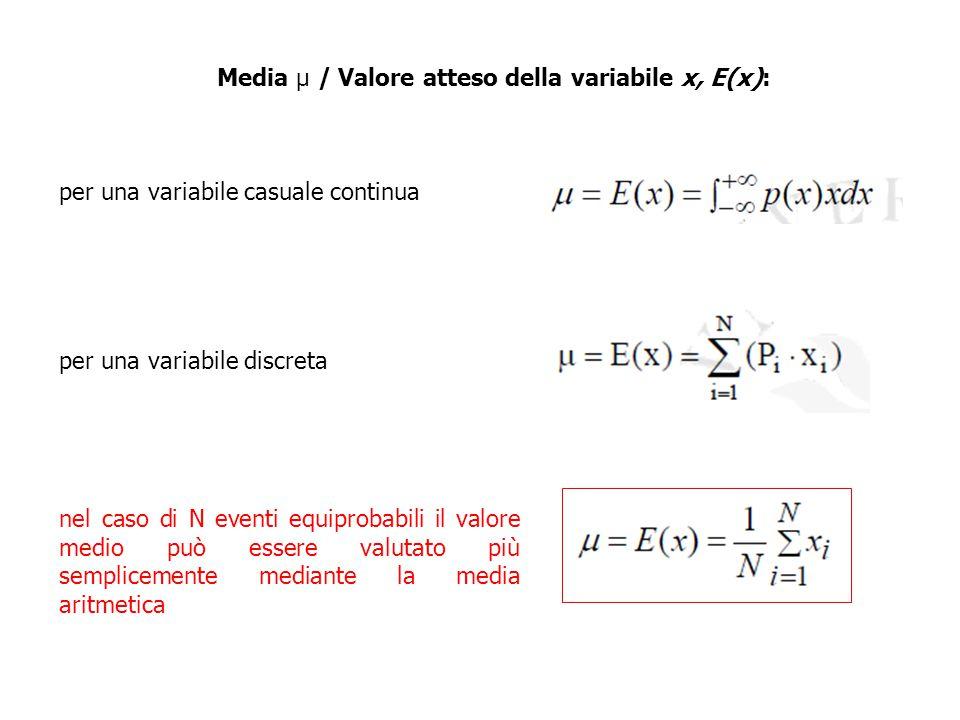 Media μ / Valore atteso della variabile x, E(x): per una variabile casuale continua per una variabile discreta nel caso di N eventi equiprobabili il v