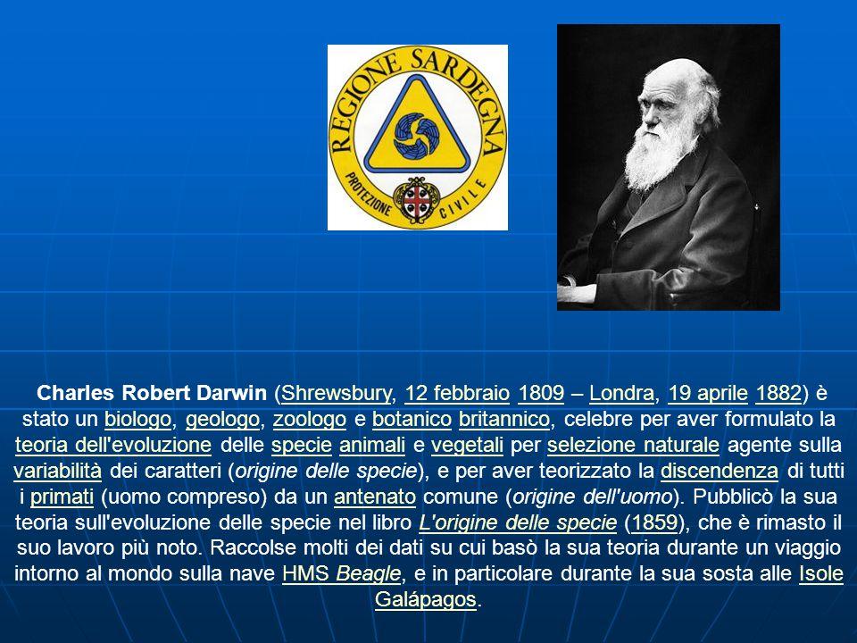 Charles Robert Darwin (Shrewsbury, 12 febbraio 1809 – Londra, 19 aprile 1882) è stato un biologo, geologo, zoologo e botanico britannico, celebre per aver formulato la teoria dell evoluzione delle specie animali e vegetali per selezione naturale agente sulla variabilità dei caratteri (origine delle specie), e per aver teorizzato la discendenza di tutti i primati (uomo compreso) da un antenato comune (origine dell uomo).