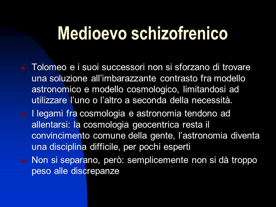 Medioevo schizofrenico Tolomeo e i suoi successori non si sforzano di trovare una soluzione all'imbarazzante contrasto fra modello astronomico e model