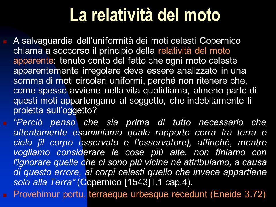 La relatività del moto A salvaguardia dell'uniformità dei moti celesti Copernico chiama a soccorso il principio della relatività del moto apparente: t