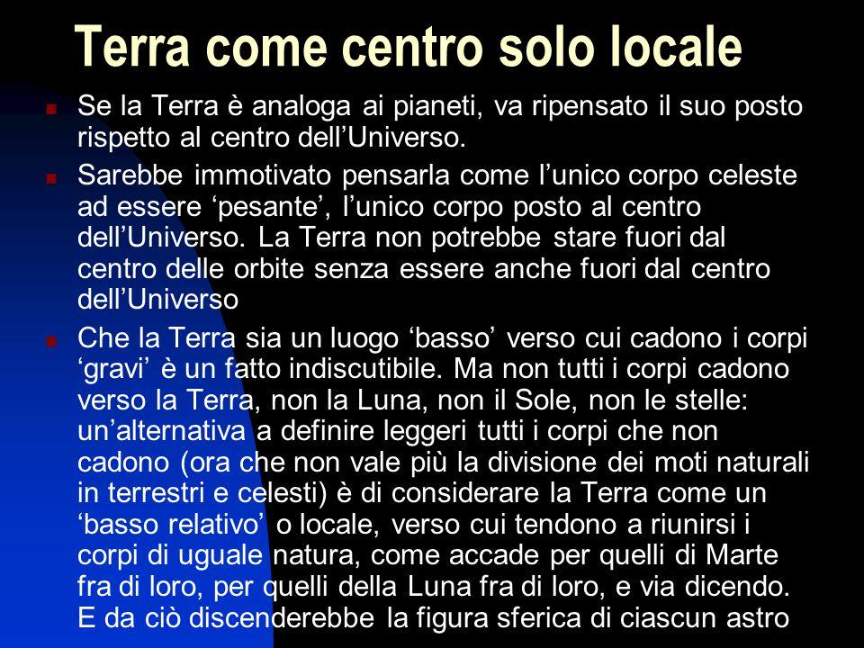 Terra come centro solo locale Se la Terra è analoga ai pianeti, va ripensato il suo posto rispetto al centro dell'Universo. Sarebbe immotivato pensarl