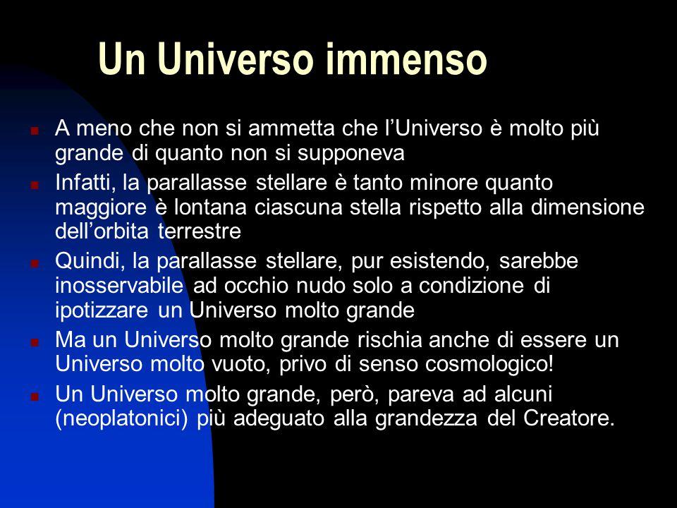 Un Universo immenso A meno che non si ammetta che l'Universo è molto più grande di quanto non si supponeva Infatti, la parallasse stellare è tanto min