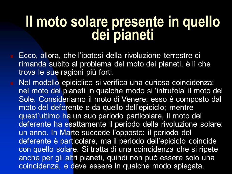 Il moto solare presente in quello dei pianeti Ecco, allora, che l'ipotesi della rivoluzione terrestre ci rimanda subito al problema del moto dei piane