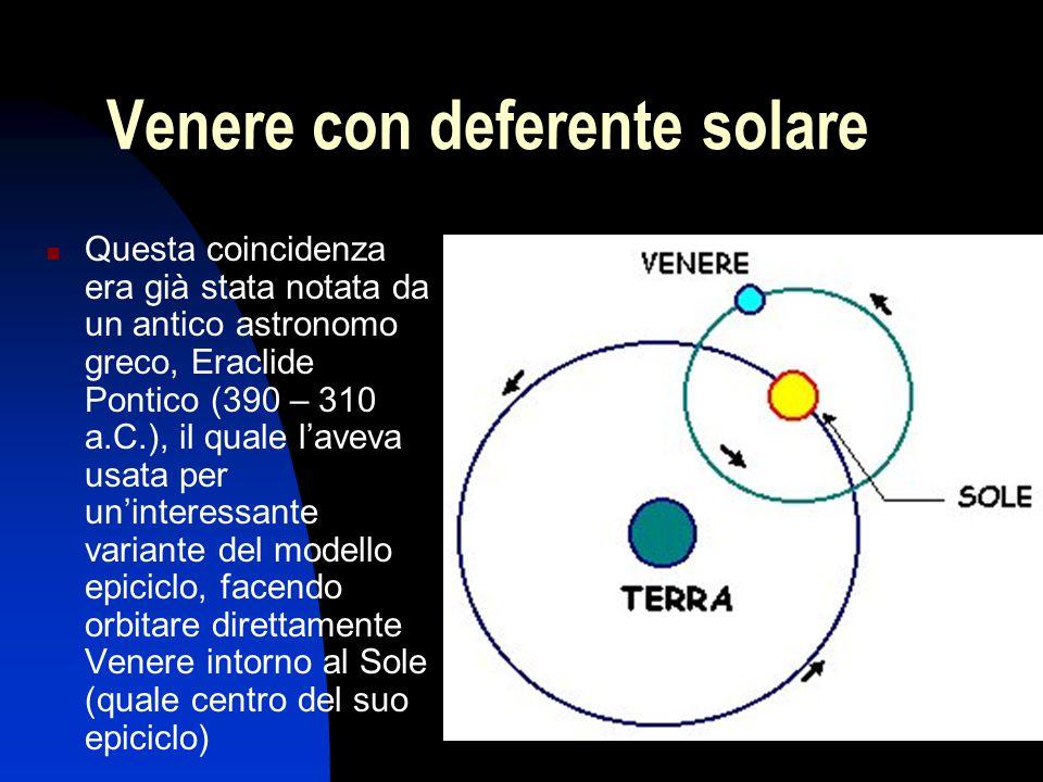 Venere con deferente solare Questa coincidenza era già stata notata da un antico astronomo greco, Eraclide Pontico (390 – 310 a.C.), il quale l'aveva