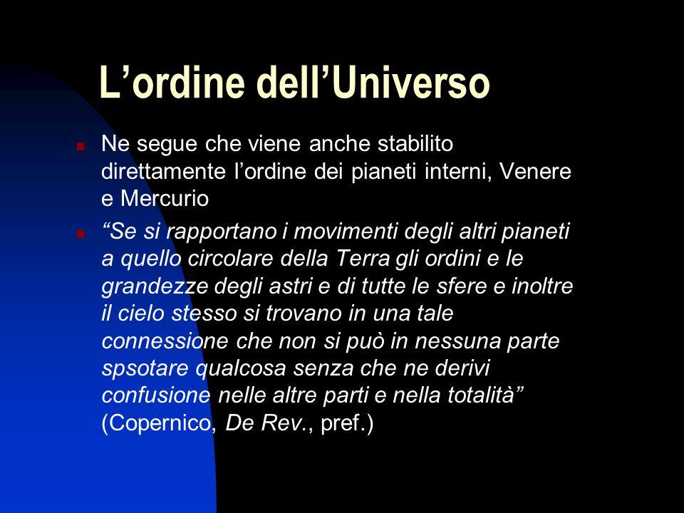 """L'ordine dell'Universo Ne segue che viene anche stabilito direttamente l'ordine dei pianeti interni, Venere e Mercurio """"Se si rapportano i movimenti d"""
