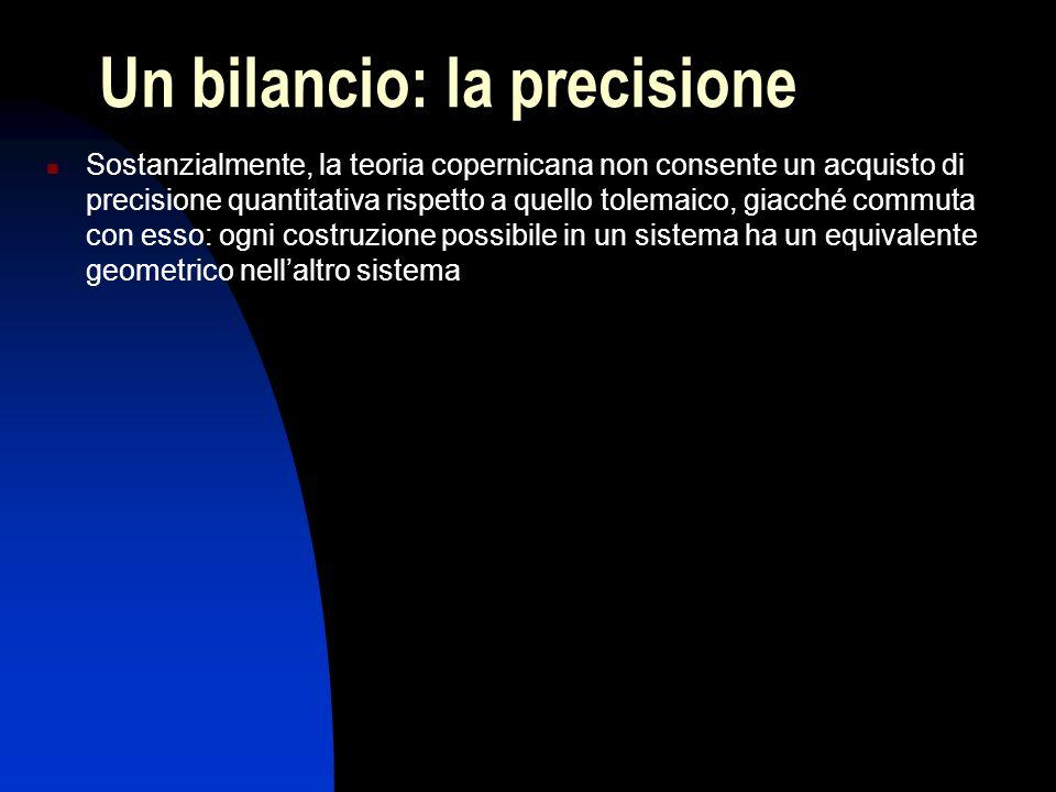Un bilancio: la precisione Sostanzialmente, la teoria copernicana non consente un acquisto di precisione quantitativa rispetto a quello tolemaico, gia
