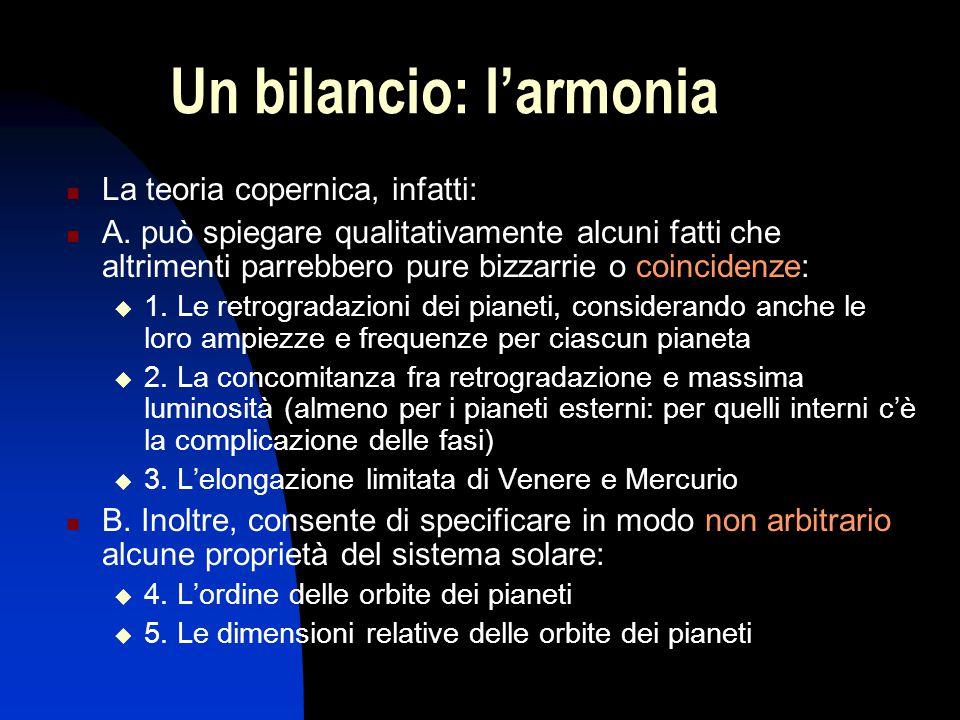 Un bilancio: l'armonia La teoria copernica, infatti: A. può spiegare qualitativamente alcuni fatti che altrimenti parrebbero pure bizzarrie o coincide