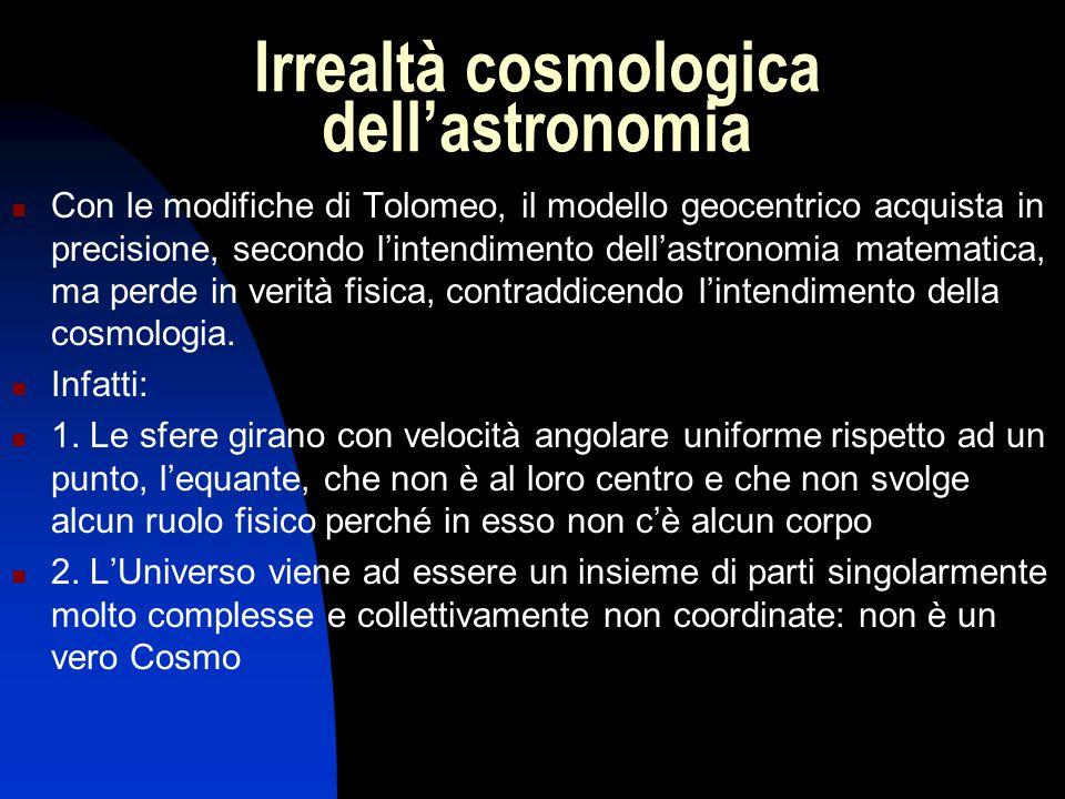 Irrealtà cosmologica dell'astronomia Con le modifiche di Tolomeo, il modello geocentrico acquista in precisione, secondo l'intendimento dell'astronomi