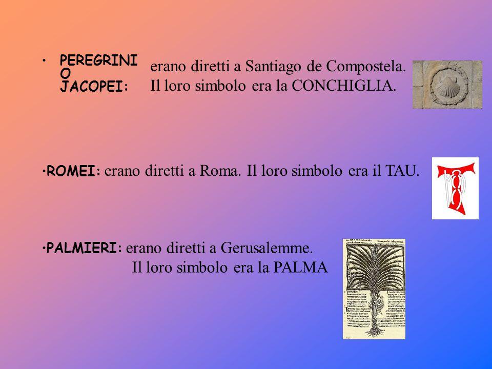 PEREGRINI O JACOPEI: erano diretti a Santiago de Compostela. Il loro simbolo era la CONCHIGLIA. ROMEI: erano diretti a Roma. Il loro simbolo era il TA