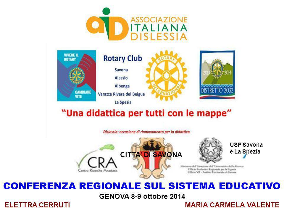 CONFERENZA REGIONALE SUL SISTEMA EDUCATIVO GENOVA 8-9 ottobre 2014 ELETTRA CERRUTI MARIA CARMELA VALENTE CITTA' DI SAVONA USP Savona e La Spezia