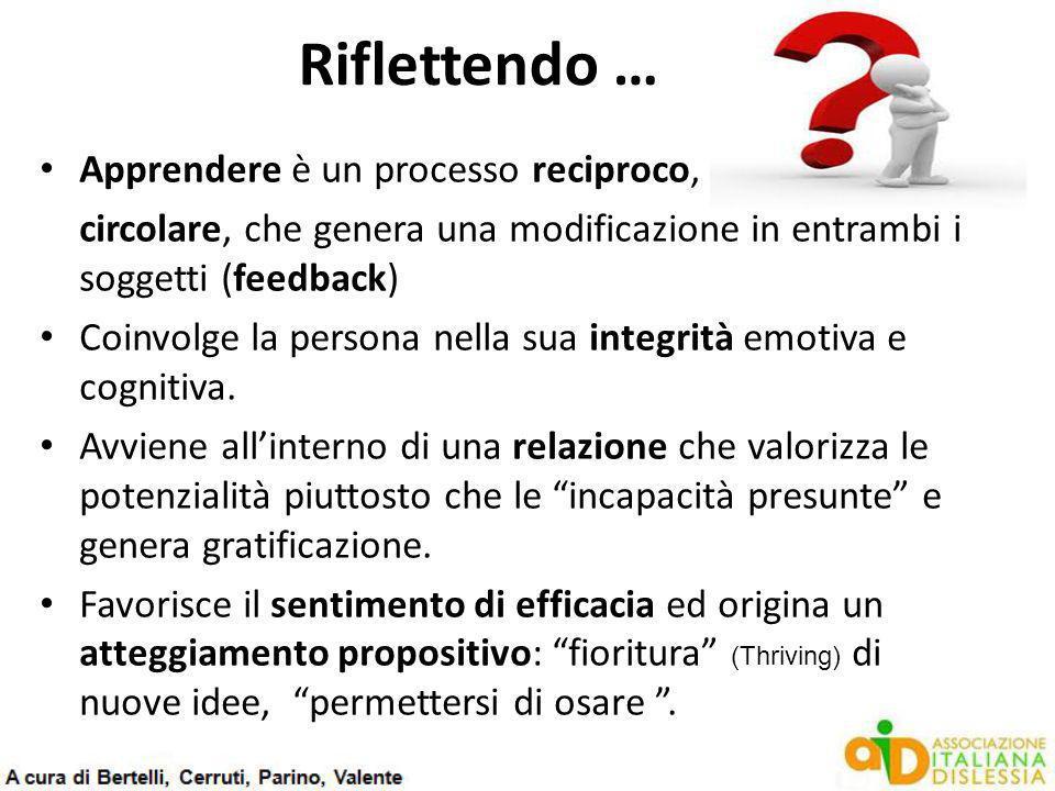 Riflettendo … Apprendere è un processo reciproco, circolare, che genera una modificazione in entrambi i soggetti (feedback) Coinvolge la persona nella