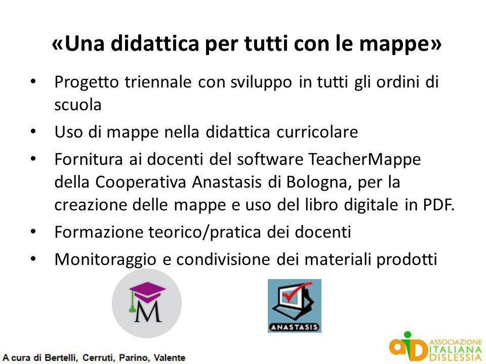 «Una didattica per tutti con le mappe» Progetto triennale con sviluppo in tutti gli ordini di scuola Uso di mappe nella didattica curricolare Fornitur