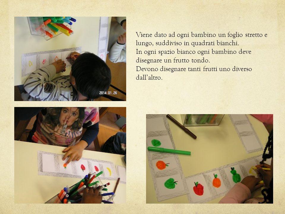Viene dato ad ogni bambino un foglio stretto e lungo, suddiviso in quadrati bianchi. In ogni spazio bianco ogni bambino deve disegnare un frutto tondo