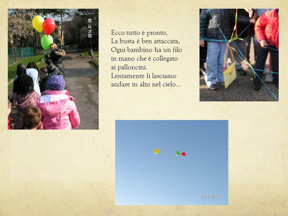 Ecco tutto è pronto, La busta è ben attaccata, Ogni bambino ha un filo in mano che è collegato ai palloncini. Lentamente li lasciamo andare in alto ne