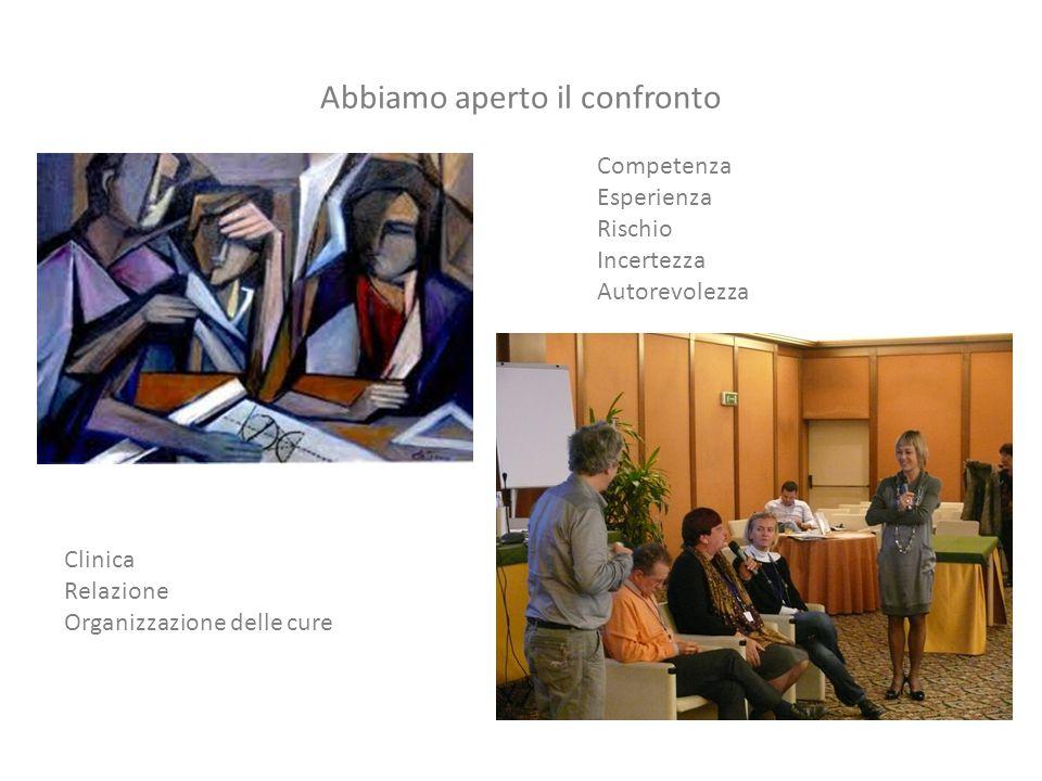 Abbiamo aperto il confronto Competenza Esperienza Rischio Incertezza Autorevolezza Clinica Relazione Organizzazione delle cure