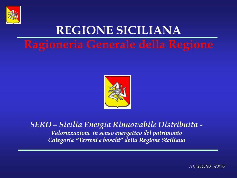 MAGGIO 2009 REGIONE SICILIANA Ragioneria Generale della Regione SERD – Sicilia Energia Rinnovabile Distribuita - Valorizzazione in senso energetico de