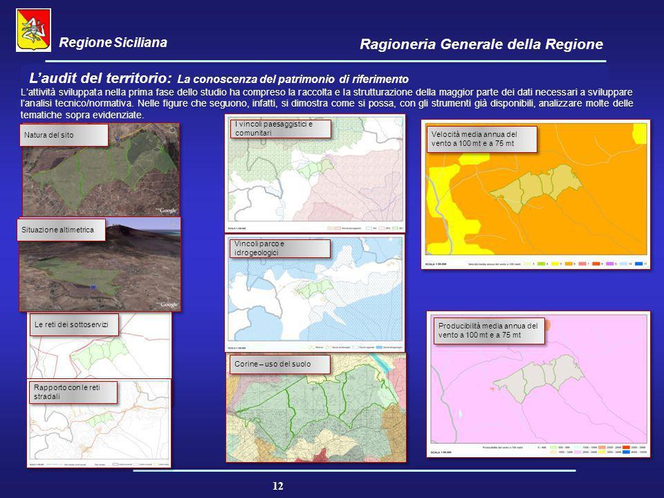 Regione Siciliana Ragioneria Generale della Regione 12 L'audit del territorio: La conoscenza del patrimonio di riferimento L'attività sviluppata nella