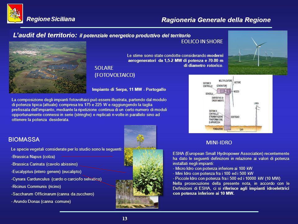 Regione Siciliana Ragioneria Generale della Regione 13 L'audit del territorio: il potenziale energetico produttivo del territorio Le stime sono state