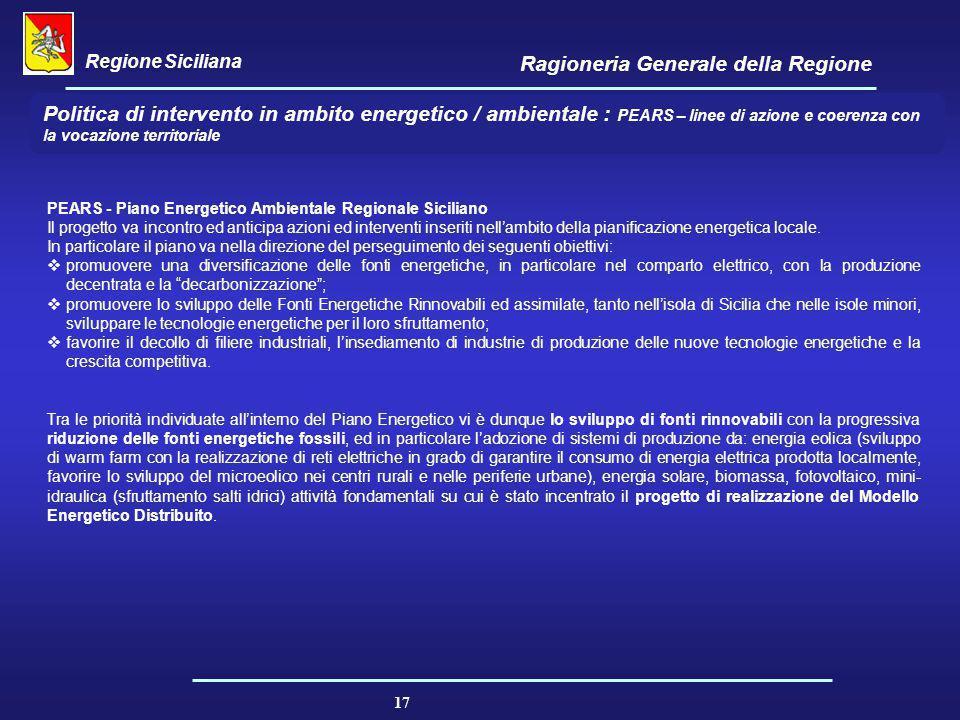 Regione Siciliana Ragioneria Generale della Regione 17 Politica di intervento in ambito energetico / ambientale : PEARS – linee di azione e coerenza c