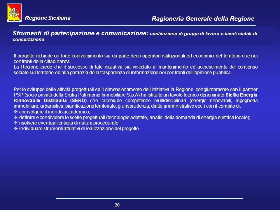 Regione Siciliana Ragioneria Generale della Regione 20 Strumenti di partecipazione e comunicazione: costituzione di gruppi di lavoro e tavoli stabili