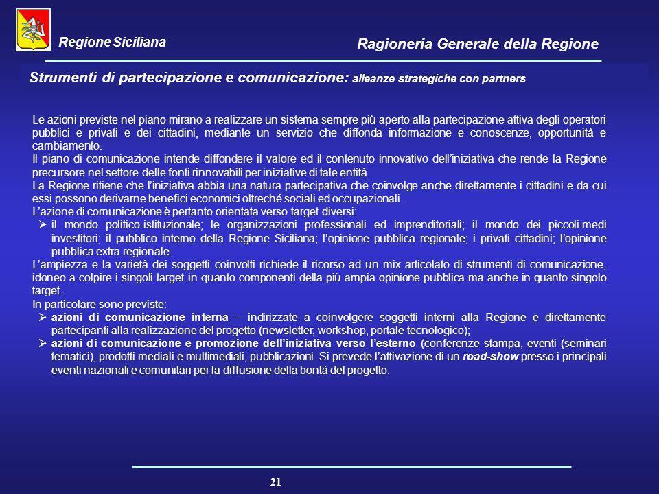 Regione Siciliana Ragioneria Generale della Regione 21 Strumenti di partecipazione e comunicazione: alleanze strategiche con partners Le azioni previs