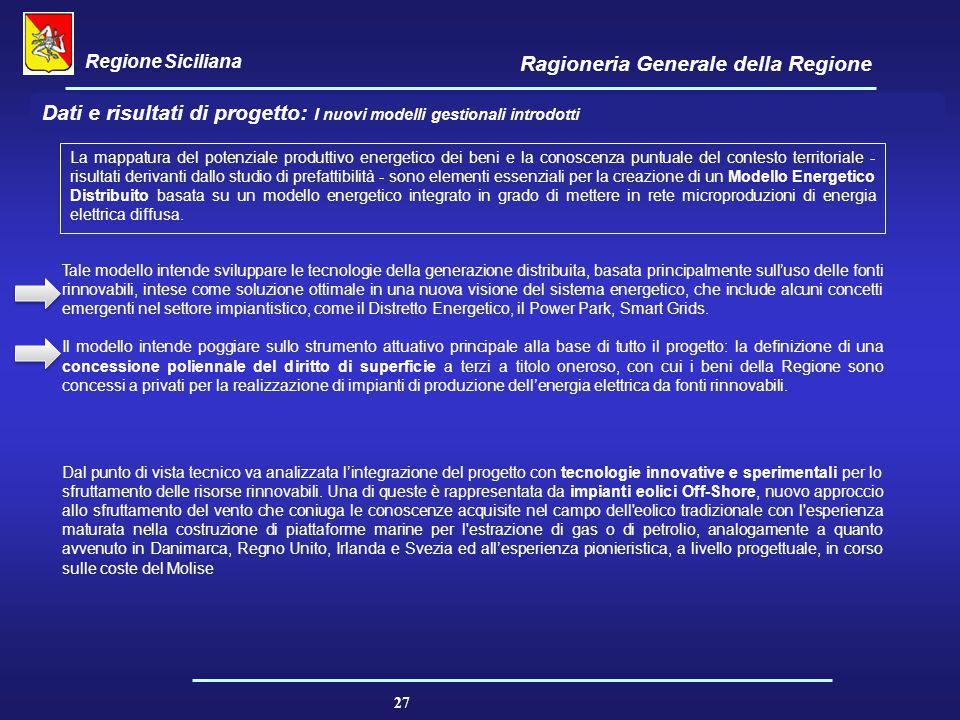 Regione Siciliana Ragioneria Generale della Regione 27 Dati e risultati di progetto: I nuovi modelli gestionali introdotti La mappatura del potenziale
