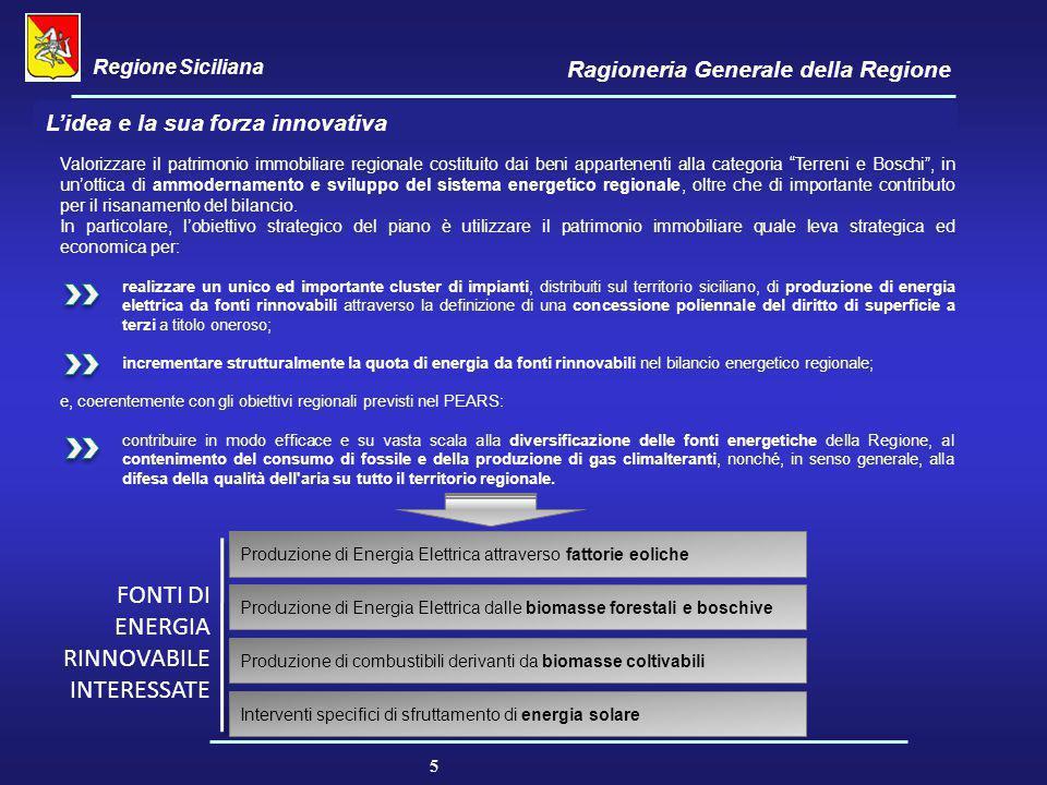 Regione Siciliana Ragioneria Generale della Regione 5 L'idea e la sua forza innovativa Valorizzare il patrimonio immobiliare regionale costituito dai