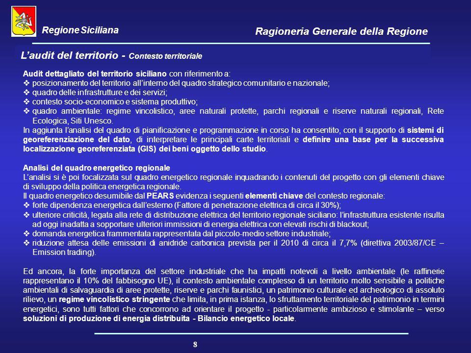 Regione Siciliana Ragioneria Generale della Regione 8 Audit dettagliato del territorio siciliano con riferimento a:  posizionamento del territorio al