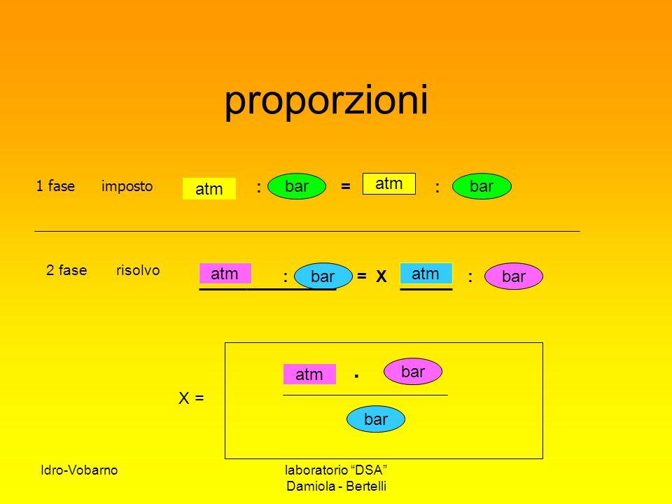 """Idro-Vobarnolaboratorio """"DSA"""" Damiola - Bertelli proporzioni : = : atm bar 1 faseimposto : atm bar X = atm bar. 2 fase risolvo bar : = X"""