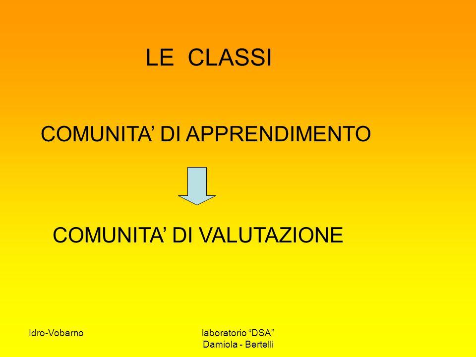 """Idro-Vobarnolaboratorio """"DSA"""" Damiola - Bertelli LE CLASSI COMUNITA' DI VALUTAZIONE COMUNITA' DI APPRENDIMENTO"""