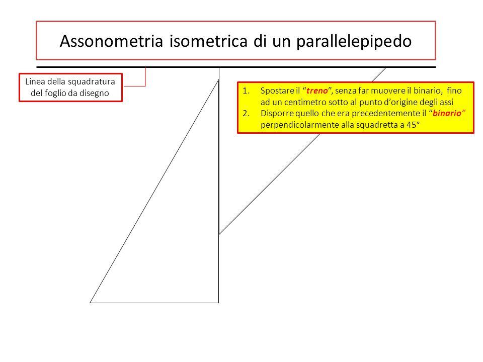 Assonometria isometrica di un parallelepipedo Linea della squadratura del foglio da disegno 1.Spostare il treno , senza far muovere il binario, fino ad un centimetro sotto al punto d'origine degli assi 2.Disporre quello che era precedentemente il binario perpendicolarmente alla squadretta a 45°