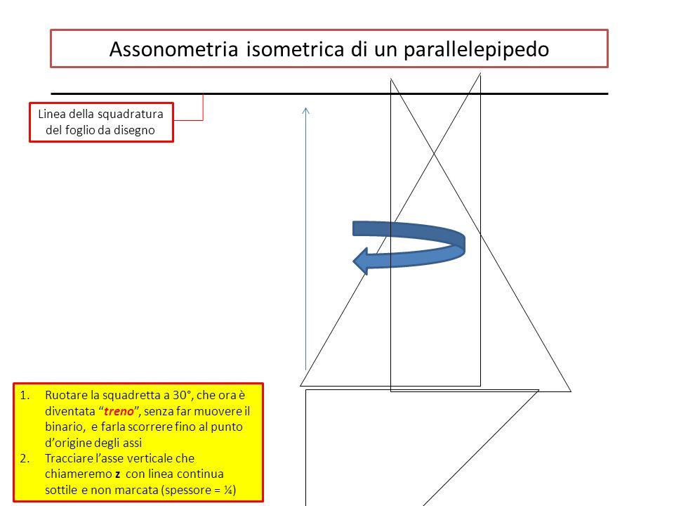 Assonometria isometrica di un parallelepipedo Linea della squadratura del foglio da disegno 1.Ruotare la squadretta a 30°, che ora è diventata treno , senza far muovere il binario, e farla scorrere fino al punto d'origine degli assi 2.Tracciare l'asse verticale che chiameremo z con linea continua sottile e non marcata (spessore = ¼)