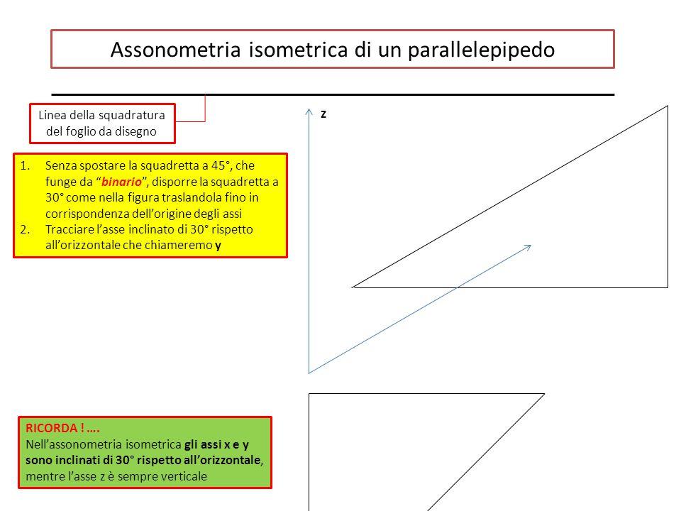 Assonometria isometrica di un parallelepipedo Linea della squadratura del foglio da disegno 1.Senza spostare la squadretta a 45°, che funge da binario , disporre la squadretta a 30° come nella figura traslandola fino in corrispondenza dell'origine degli assi 2.Tracciare l'asse inclinato di 30° rispetto all'orizzontale che chiameremo y z RICORDA .