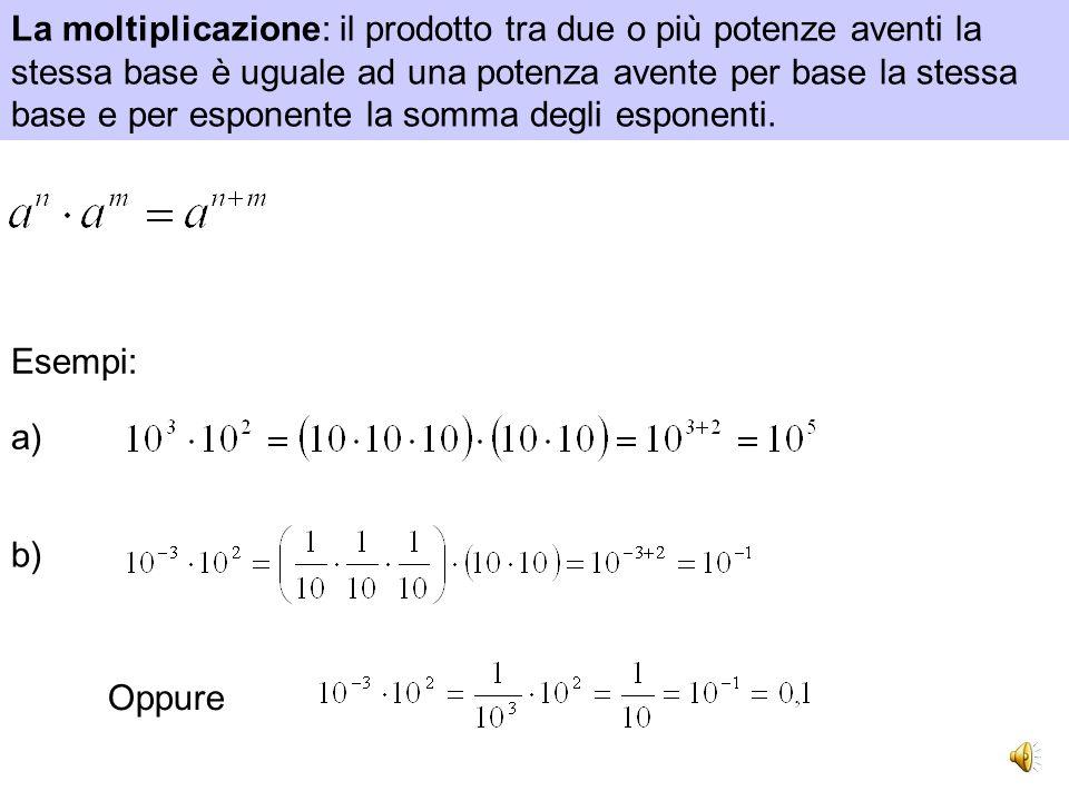 Esempi: a) si legge tre alla seconda oppure tre al quadrato b) si legge un mezzo alla terza oppure un mezzo al cubo c) si legge due alla meno tre