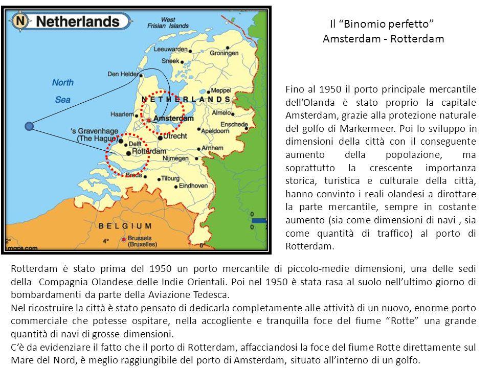 """Il """"Binomio perfetto"""" Amsterdam - Rotterdam Fino al 1950 il porto principale mercantile dell'Olanda è stato proprio la capitale Amsterdam, grazie alla"""